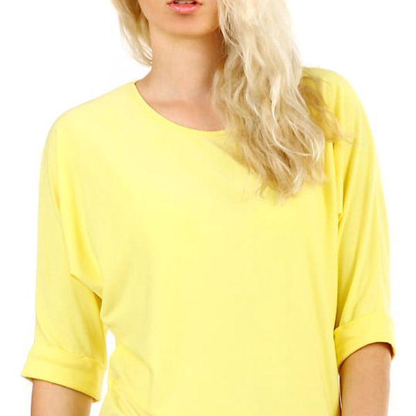 Dámské oversized triko s 3/4 rukávem žlutá