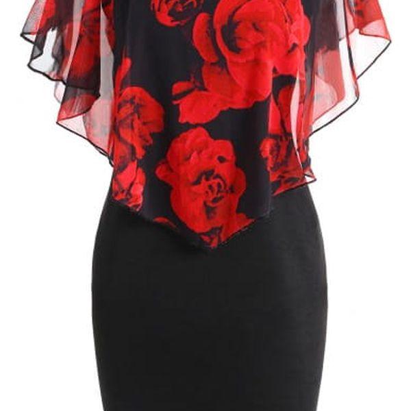 Elegantní šaty s růžemi v plus size velikostech