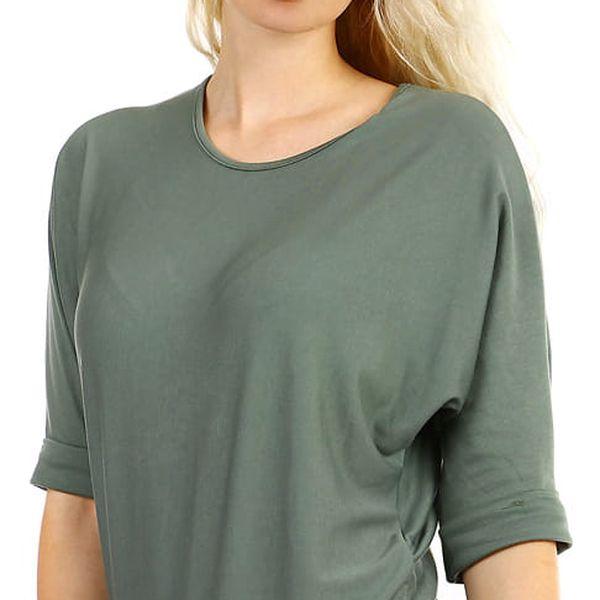 Dámské oversized triko s 3/4 rukávem zelená