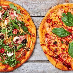 2 křupavé pizzy s rozvozem do vybraných oblastí