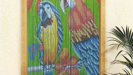 Bambusový závěs Papoušci, 90x200 cm, WENKO