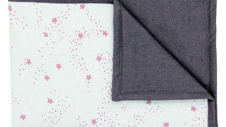 Šedá dětská deka s růžovými hvězdičkami Art For Kids Stars, 70x100cm