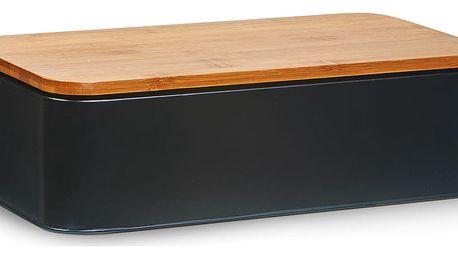 Chlebovka +bambusové prkénko na krájení, černá barva, 2v1, ZELLER