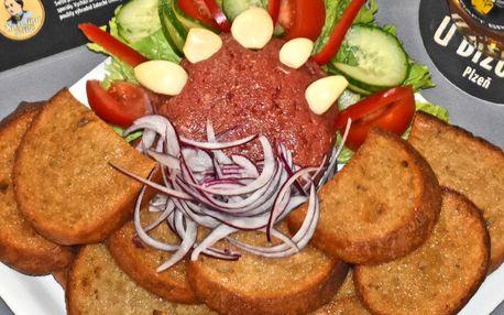 450g namíchaný tatarský biftek + 18 ks topinek