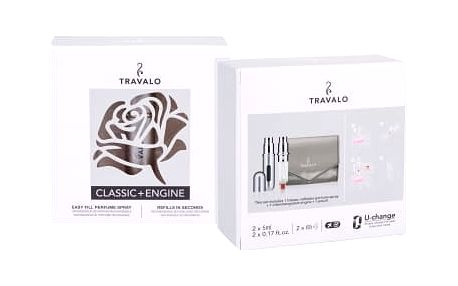 Travalo Travalo Classic HD dárková kazeta unisex plnitelný flakón 2x5ml + pouzdro Silver
