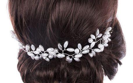 Svatební ozdoba do vlasů - čelenka Stříbrné perly do vlasů