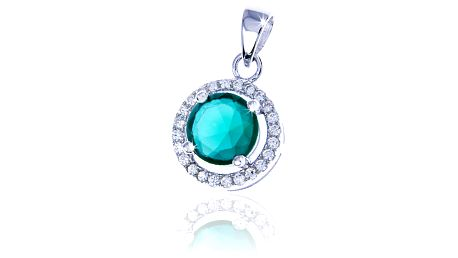 Stříbrný přívěšek se zelenými krystaly