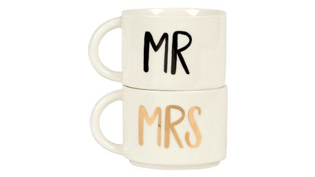 sass & belle Keramická sada hrnečků Mr Mrs, krémová barva, keramika