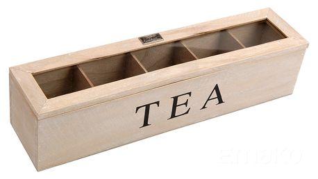Dřevěná krabička na čaj TEA, 5 přihrádek Emako