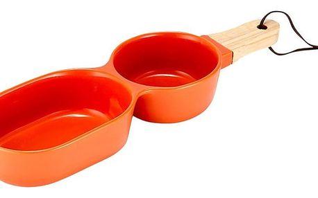 Oranžová dvojitá servírovací porcelánová miska Ladelle Classic