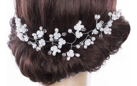 Svatební ozdoba do vlasů - čelenka Stříbrná větvička s kytkami, perly a krystalky