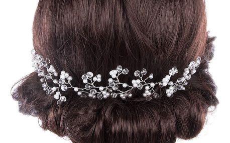 Svatební ozdoba do vlasů - čelenka Stříbrná větvička s perly a krystalky