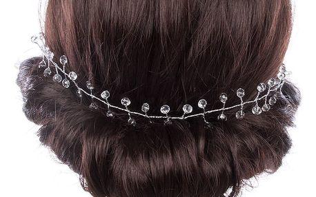 Svatební ozdoba do vlasů - čelenka Stříbrné krystalky do vlasů