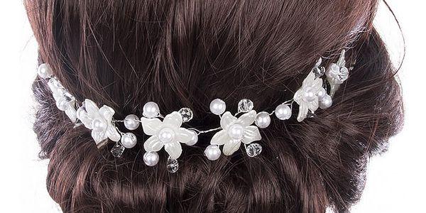 Svatební ozdoba do vlasů - čelenka Stříbrné kytky s krystalky