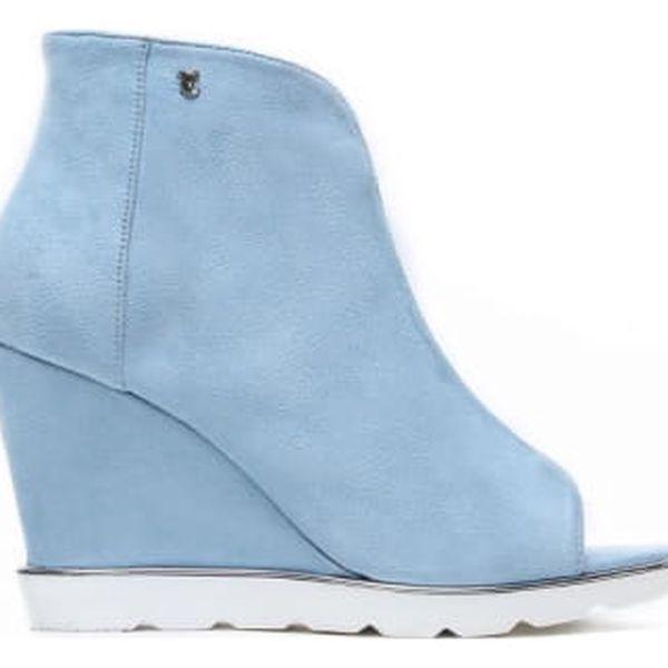 Dámské modré sandály na klínku Raylon 1132