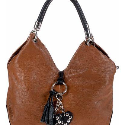 Hnědá kožená kabelka Pitti Bags Lecce