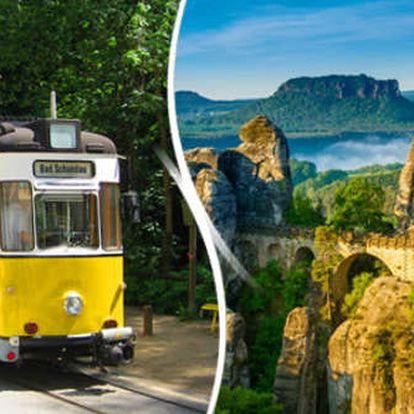 Nádherný poznávací zájezd do Německa vyhlídkovou tramvají přes hory k vodopádu Saského Švýcarska