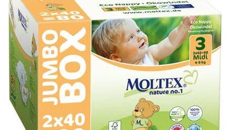 MOLTEX Nature no. 1 Midi, 80 ks (4 - 9 kg) - JUMBO BOX – jednorázové pleny