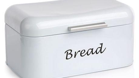 Plechový chlebník, bílá, 30 x 18 x 15 cm