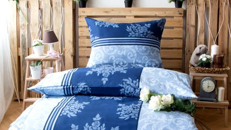 XPOSE ® Prodloužené bavlněné povlečení KATEŘINA - modrá 140x220, 70x90