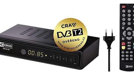DVB-T2 přijímač EMOS EM180 HD černý