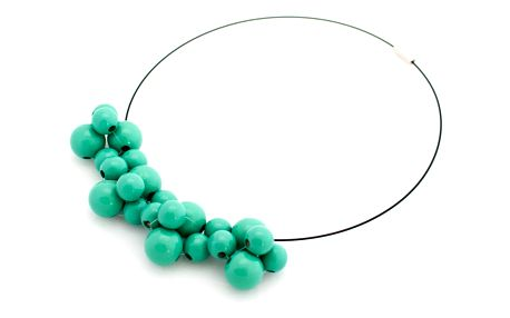 Mentolový dřevěný náhrdelník Ko–ra–le Bubbles