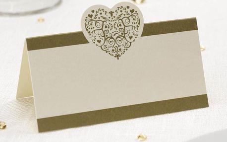 Sada 50 bílo-zlatých jmenovek na stůl Neviti Vintage Romance