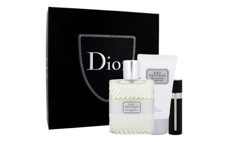 Christian Dior Eau Sauvage dárková kazeta pro muže toaletní voda 100 ml + sprchový gel 50 ml + toaletní voda naplnitelná 3 ml