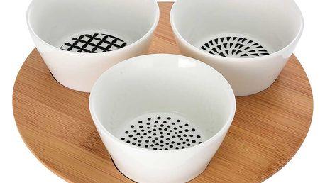 Souprava pro občerstvení, dresinky a předkrmy - 3 porcelánové mističky EH Excellent Houseware