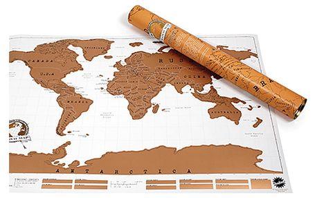Stírací nástěnná mapa světa s tubusem Ambiance Scratch Map