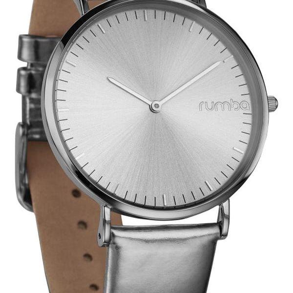 Dámské hodinky s koženým řemínkem ve stříbrné barvě Rumbatime Chelasea Lights