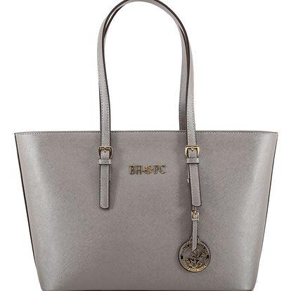Kabelka ve stříbrné barvě z eko kůže Beverly Hills Polo Club Anne