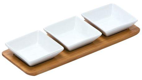 Set 3 servírovacích misek na bambusovém tácku Premier Housewares Snacks