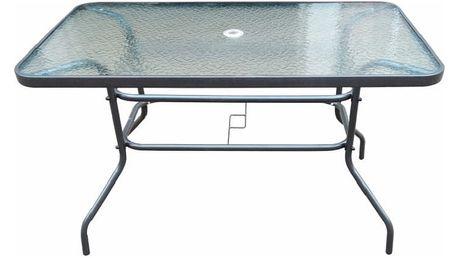 Zahradní stůl DEMAT černá ocel / tvrzené sklo Tempo Kondela