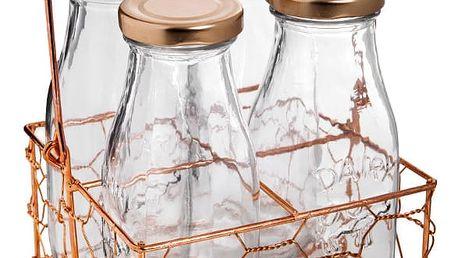 Set 4 skleněných lahví a přenosky Bambum Olimpos, 250 ml