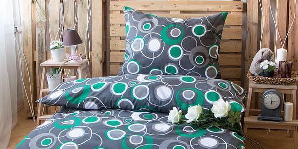 XPOSE ® Bavlněné povlečení na dvě lůžka HEDVIKA - šedo-zelená 2 140x200, 70x90