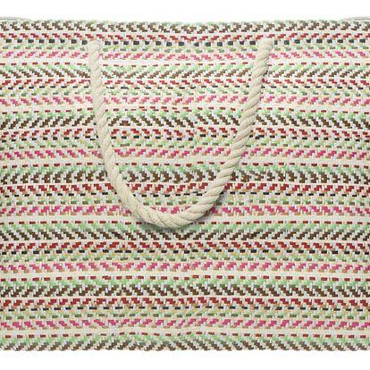 Plážová taška Stripes růžová, 60 x 40 cm