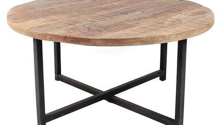 Černý konferenční stolek s deskou z mangového dřeva LABEL51 Dex, Ø80 cm