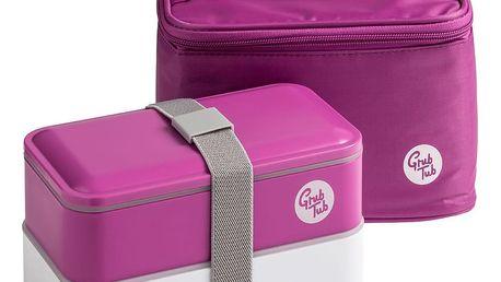 Set tmavě růžového svačinového boxu a tašky Premier Housewares, 21 x 13 cm