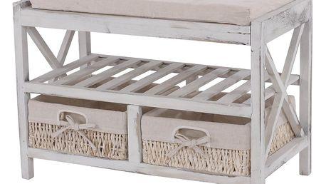 Bílý dřevěný botník s lavicí Mendler Shabby
