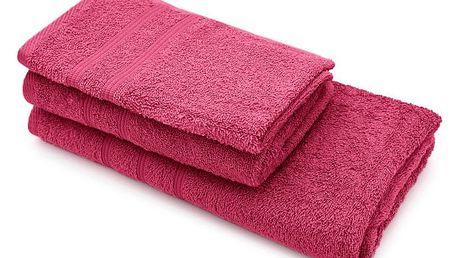 Set dvou fuchsiových ručníků a osušky Jalouse Maison Duro Fuchsia