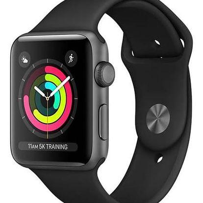 Apple Watch Series 3 GPS 42mm pouzdro z vesmírně šedého hliníku - černý sportovní řemínek (MQL12CN/A)