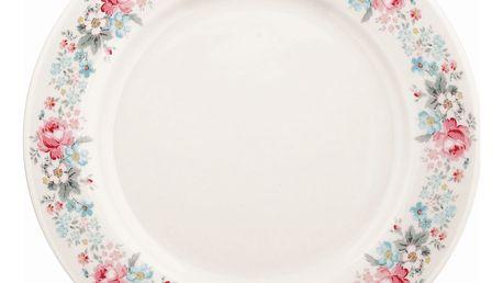 GREEN GATE Obědový porcelánový talíř Marie pale grey, růžová barva, šedá barva, bílá barva, porcelán