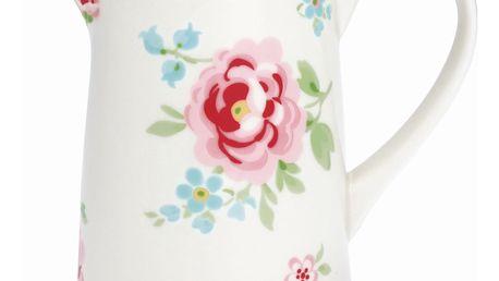 GREEN GATE Džbán Meryl White 1l, růžová barva, bílá barva, porcelán