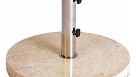Garthen 2259 Stojan na slunečník z krémového mramoru a ušlechtilé oceli, kulatý , 25 kg