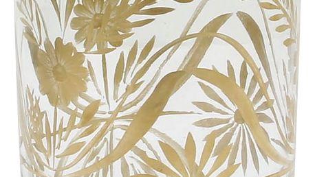 HK living Skleněná váza Brass Flower, měděná barva, čirá barva, sklo