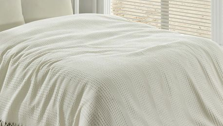 Krémový lehký bavlněný přehoz přes postel na dvoulůžko Pique,220x240cm