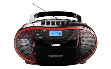 Radiomagnetofon s CD Hyundai TRC 851 AU3R černý/červený