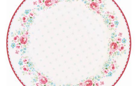 GREEN GATE Porcelánový talíř Tess White, bílá barva, porcelán