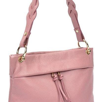 Růžová kožená kabelka Carla Ferreri Poppy
